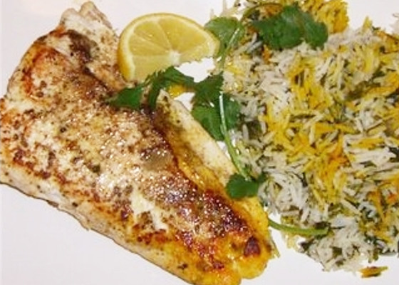 herb rice fried fish